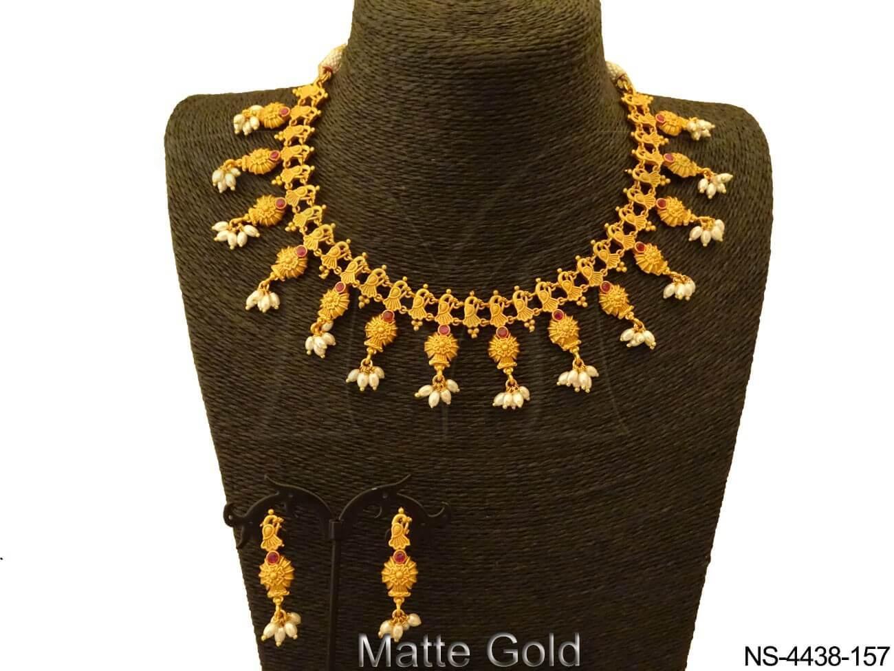 Designer Style Kempu Necklace Set